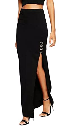 5e1fe5407f1184 ouxiuli Women Pencil Skirt Knee Length Side Button up Slit Skirt Black XS