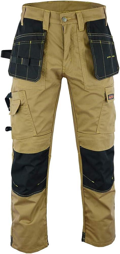 Colore Grigio e Kaki Resistenti con Tasche Multiple e Ginocchiere Wright Wears da Uomo Come Dewalt Pantaloni Cargo da Lavoro