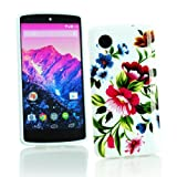 Kit Me Out CAN TPU Gel Case for LG Google Nexus 5 E980 - White / Pink / Purple Vintage Flowers