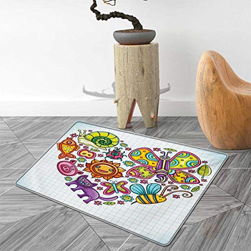 Doodle Bath Mats for Bathroom Flora and Fauna Themed Heart Animals Birds and Plants Bumblebee Ladybug Leafs Cat Door Mats for Inside Non Slip Backing 3'x5' Multicolor ()