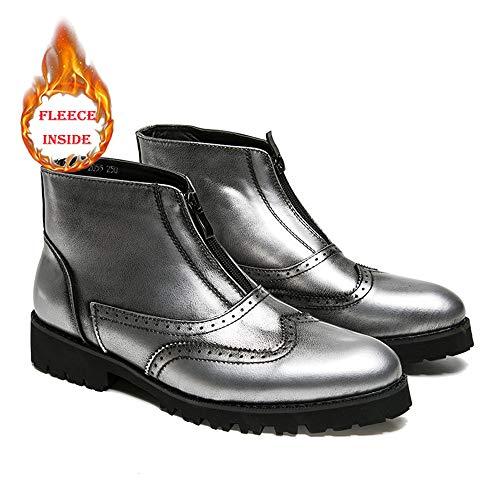 Vintage Casual La Polaire Chaussures conventionnel Hiver Pour Silver Brogue Mode En Chenjuan À Botte Warm Bottines Option Hommes Haut Faux L'intérieur Sculpture xEqCwC8f0