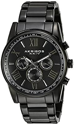 Akribos XXIV Men's AK904BK Black Multi-Function Quartz Bracelet Watch