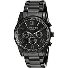 Akribos XXIV Men's AK904 Ion-Plated Two Time Zone Stainless Steel Watch (Black)