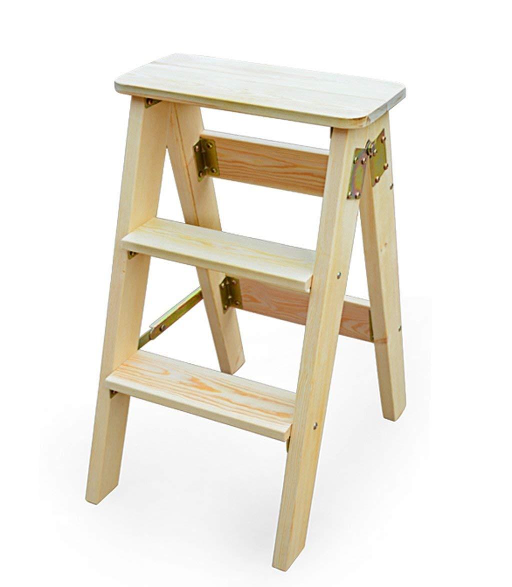 Wood color XITER Ladder Stool Household Oak Wood Folding Ladder Anti-Slip Ladder Multi-Function 3-Step Ladder Portable Folding Ladder (color   Brown)