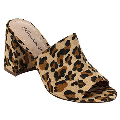 Breckelles Women Mule Heel Heel - Open Toe Block Tallone Mulo - Peep Toe Slide Slide - Hk34 By Leopard Faux Suede