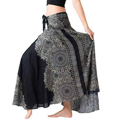 - Sayhi Women's Long Hippie Bohemian Skirt Gypsy Dress Boho Clothes Flowers Ethnic Style Fits Asymmetric Hem Design(Black,XL)