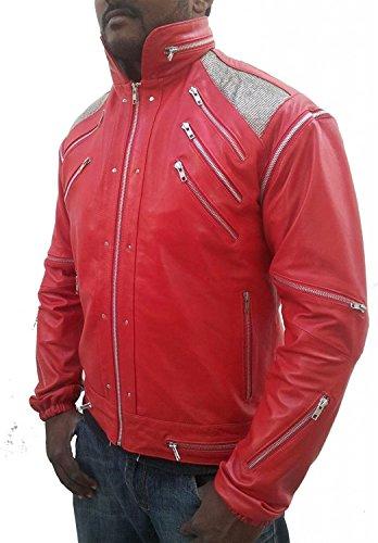 Hollywood Jacket Men's Michael Jackson Beat It Faux Leather Jacket Medium Red (Beat It Jacket)