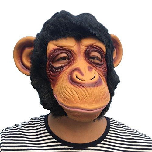 (SUNKY- Orangutan Adult Latex Head Mask Creepy Animal Costume for Halloween)