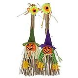 2Pcs Halloween Scarecrow Hanging Decorations, Witch Pumpkin Straw Broom Door Wall Decoration Props Ornaments Pendant for Halloween Party School Kindergarten Home Bar Garden Thanksgiving Decoration Gif