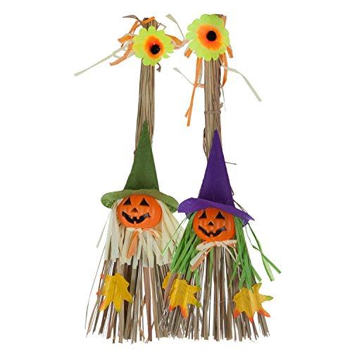 2Pcs Halloween Scarecrow Hanging Decorations, Witch Pumpkin Straw Broom Door Wall Decoration Props Ornaments Pendant for Halloween Party School Kindergarten Home Bar Garden Thanksgiving Decoration Gif -