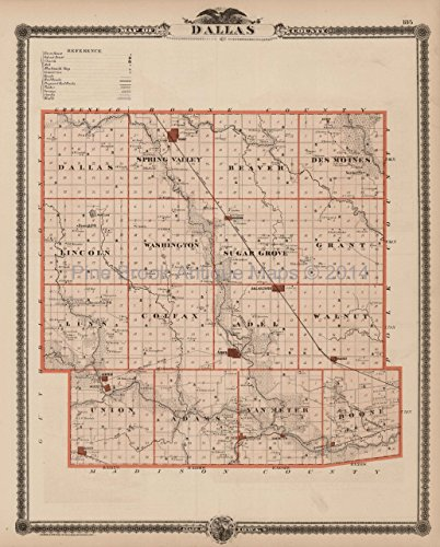 - Dallas County Iowa Map Antique Andreas 1875 Authentic Decor History Ancestry Housewarming Gift