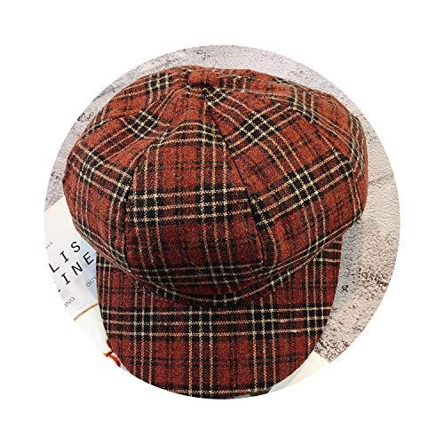 八角形キャップ 女性ベレーズ帽子 女性男性 秋冬,褐色