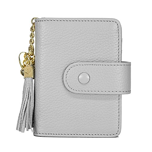 Women's Mini Credit Card Case Wallet with ID Window and Card Holder purse 9 Colors(Gray)