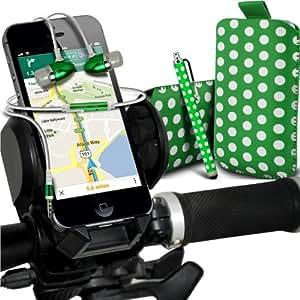 Nokia Lumia 510 Protección Premium Polka PU tracción Piel Tab Slip Cord En Pouch Pocket cubierta de la caja del lanzamiento rápido, superior de la calidad de la piel en auriculares de botón Stereo Headset Manos Libres Auriculares con micrófono Mic y botón de encendido y apagado, Grande Sylus pluma y universal de bicicletas Bike Mount Holder Soporte horquilla del soporte del manillar de soporte 360 ??grados de rotación verde y blanco por Spyrox