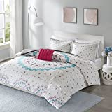 Comfort Spaces - Ari Comforter Set - 4 Piece - White/Pink/Teal/Blue - Printed Multi-Color Grandiose Medallion Design with Solid Grey Reverse - Full/Queen - 1 Comforter, 2 Shams, 1 Decorative Pillow