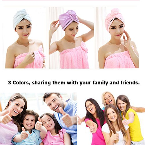 3 Pack Microfiber Hair Towel Wrap BEoffer Super Absorbent Twist Turban Fast Drying Hair Caps with Buttons Bath Loop Fasten Salon Dry Hair Hat Pink Blue Purple by BEoffer (Image #6)