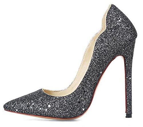 Aisun Womens Glitter Paillettes Low Cut Slip On Dressy Scarpe A Punta Tacco Alto A Spillo Pompe Da Sera Scarpe Da Sera Nero