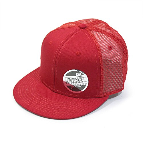 Plain Cotton Twill Flat Brim Mesh Adjustable Snapback Trucker Baseball Cap (Varied Colors) (Cotton Twill Baseball Hat)