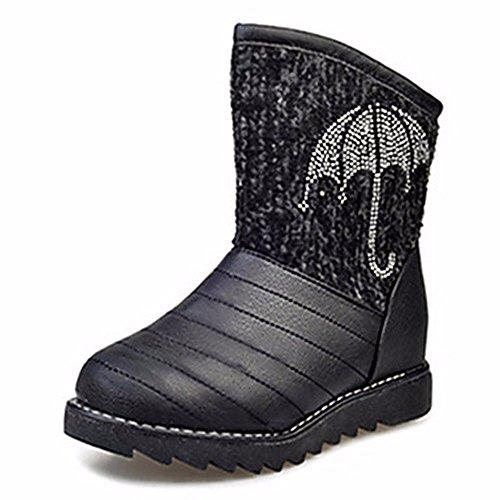 ZHUDJ Damenschuhe Frühjahr Herbst Winter Komfort Snow Boots Flachem Absatz Runder Bowknot Für Casual Beige Schwarz Black