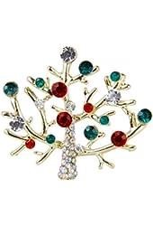 Gorgeous Colorful Rhinestone Tree Brooch Pin