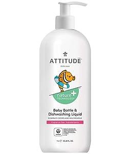 ATTITUDE Baby Dish Soap, Non-Toxic, Plant-Based, Eco-Friendly, Fragrance-Free