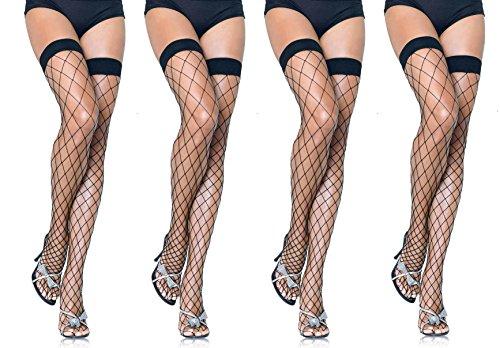 Leg Avenue Women's Fence Net Thigh High Stockings (4-Pair, Black)