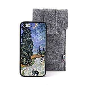 CaseCityLiu - People Walking on the Road Vincent Willem van Gogh Oil Painting Design Black Bumper Plastic+TPU Case Cover for Apple iPhone 5 5s 5th 5g 5Generation Come With FREE Non Woven Packing Bag