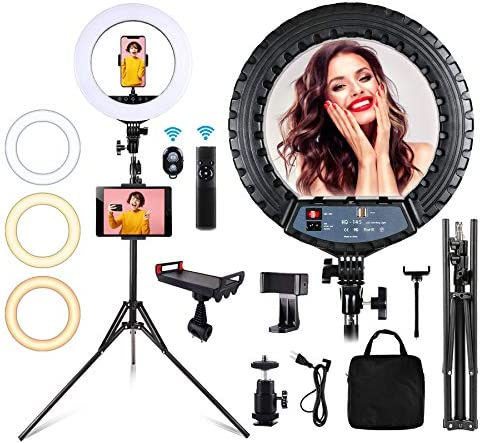 "Roaring Hippo,14"" Selfie Ring Light,with Tripod Stand and Phone Holder Light Ring Kit, Touch Screen/Remote Control Dimmable LED Ring Light dimmable for Camera, Makeup, YouTube and Video Shooting."