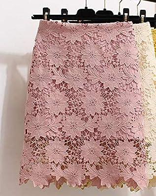 HEHEAB Falda,La Moda Coreana Dulce Acanalar Crochet Bordados ...