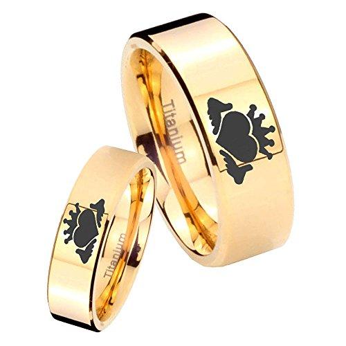 women and men Titanium Claddagh Symbol Gold IP Pipe Cut Wedding Ring Set Size 6, 10