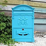 Traditional Aristocratic, Sun Identity Villa Cast Aluminum Mailboxes 49 Colors Available (26 Lily Sky)