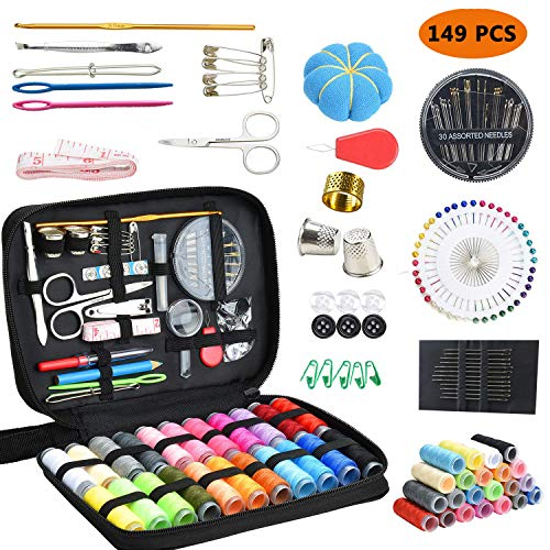 (Sewing Kit, DIY Premium Sewing Supplies Set with Scissors, Thimble, Thread, Needles, Tape Measure, Carrying Case and Accessory for Beginners, Kids, Summer Campers, Travel and Home (149 PCS (Black))