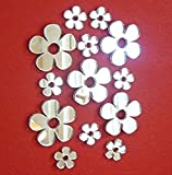 Juego de 50 pegatinas para espejo de flores pequeñas, diferentes tamaños, para decoración de guardería, manualidades y álbumes de recortes, piezas de espejo