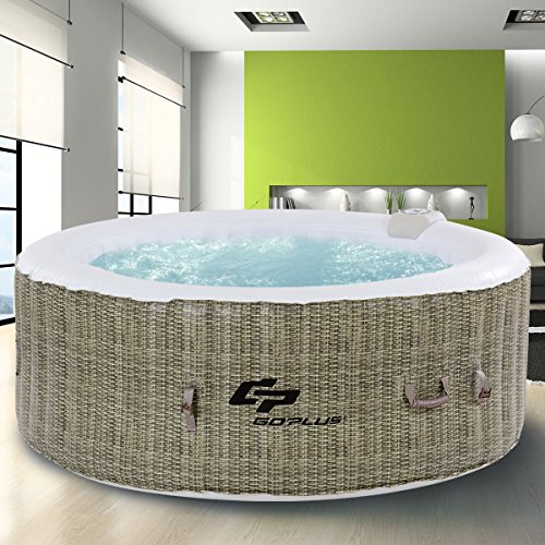 Goplus 6 Person Inflatable Hot Tub for Portable Outdoor Jets Bubble Massage Spa Relaxing w/Accessories (Coffee) by Goplus (Image #3)