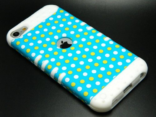 CellPhone Trendz Hybrid 2 in 1 Case Hard Cover Faceplate Skin White Silicone and Yellow White Blue Light Polka Dots Snap Protector for Apple iPod iTouch 5 (5th Generation)