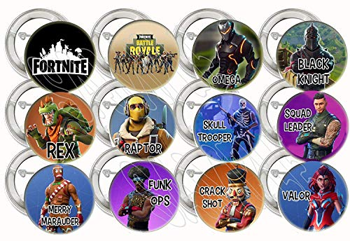 Battle Royal Buttons Video Game Fortnit Party Favors Supplies Decorations Fortnit Collectible Metal Pinback Buttons Pins, Large 2.25