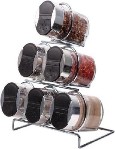 7 Piece Glass & Chrome Spice Rack