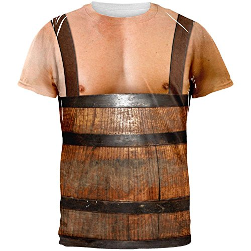Halloween Man in Barrel Suspenders Costume All Over Adult T-Shirt - 2X-Large