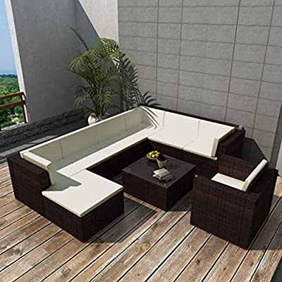 binzhoueushopping mobiliario de jardín 27 pcs marrón Resistente y Durable Mesa Baja: Dimensions 70 x 70 x 40 cm (L x l x h) (Resina Trenzada Conjunto de sofás: Amazon.es: Hogar