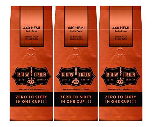 Extra Strong Ground Gourmet High Caffeine Coffee 440 Hemi High Grade Rich Bold Arabica Blend Small Batch 3 12 oz Bags by Raw Iron Coffee Company (440 Hemi 36 oz.Ground) ()