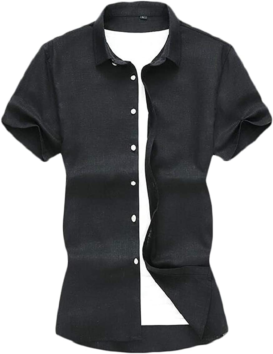 SHOWNO Mens Business Linen Button Up Casual Chinese Style Dress Shirts