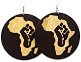 Africa Rasta Earrings''Reggae Earrings'' Jamaican Earrings Africa Map Earrings-Drop Rasta Earrings (Africa Fist Brown)