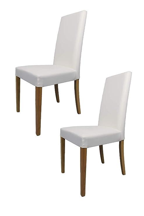 Tommychairs sillas de Elegancia - Set de 2 Sillas GINEVRA de Cocina, Comedor, Bar y Restaurante con Estructura en Madera de Haya Pintado Color Roble y ...