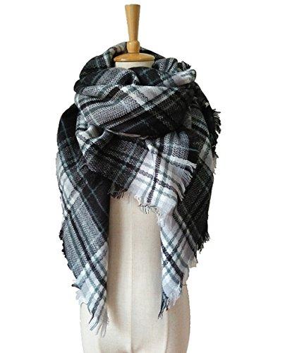 [WINCAN Soft Warm Tartan Plaid Scarf Shawl Cape Blanket Scarves Fashion Wrap (black white)] (Black And White Cape)