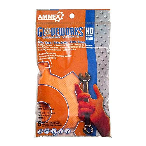 AMMEX - GWHD6PKORG-S - Heavy Duty Nitrile Gloves - Glovework