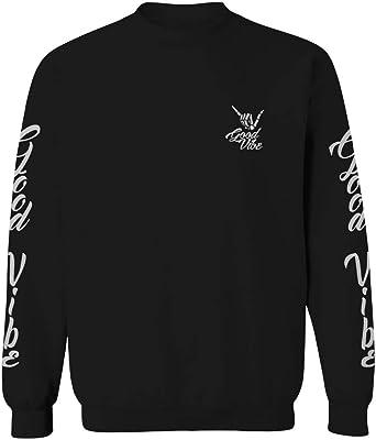 Good Vibe Flowers Bones Hand Shaka Cool Vintage Hipster Graphic Mens Crewneck Sweatshirt