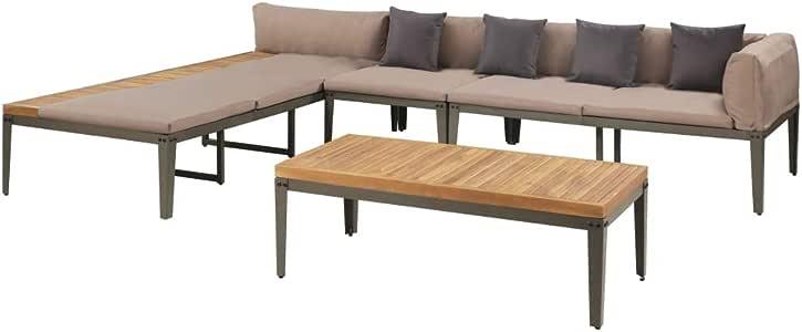 vidaXL Set Muebles Jardín Madera Acacia Metal Juego Sofás Mesa Centro Tumbona: Amazon.es: Hogar