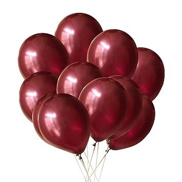 Toyvian 12 Pulgadas Vino Rojo Globos látex Helio Globo Boda Boda Fiesta de cumpleaños decoración Suministros 100pcs