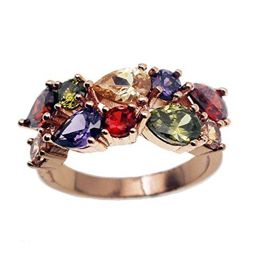 Vanessa Rose Gold Multi Gemstone Jewelry Sets for Women,Sparkling Garnet Amethyst Morganite Peridot Topaz (8# Ring) ()