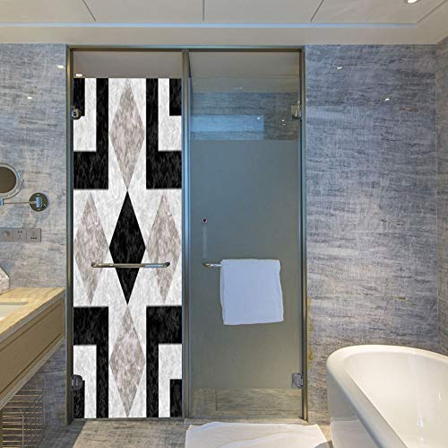 YOLIYANA Frosted Window Film Stained Glass Window Film,Apartment Decor,Work Well in The Bathroom,Nostalgic Marble Stone Mosaic Regular Design with Alluring,24''x78''